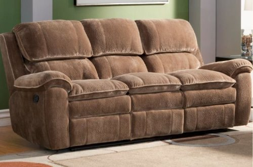 Reilly Collection Glider Recliner Sofa in Brown Textured Plush Microfiber By Homelegance