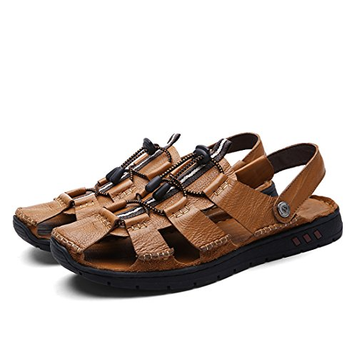 Best men leather sandal shoes 2016 - Dekesen Men's Casual Genuine Leather Sandal 9M