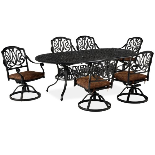 Home Styles Floral Blossom 7-Piece Dining Table, Charcoal image