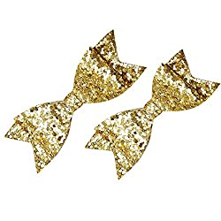 Dchica Two cute glittery bow clips for girls