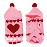 Pet Dog Pink Knitted Hoodie Heart Printed Clothing Sweater Size XXS