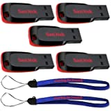 SanDisk Cruzer Blade 8GB (5 pack) USB 2.0 Flash Drive Jump Drive Pen Drive SDCZ50 - Five Pack w/ (2) Everything But Stromboli (TM) Lanyard