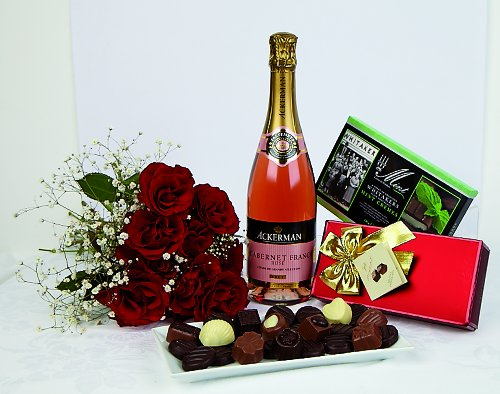 Sparkling Rose and Chocolates in gift box - Sparkling wine and chocolate hamper