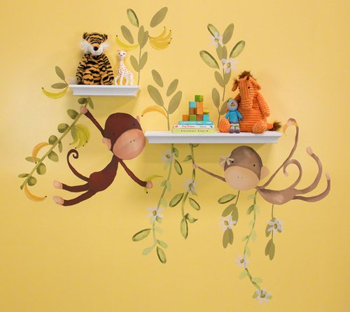 Oopsy Daisy 54 by 30-Inch Peel and Place Jungle Monkeys Medium by Meghann O'Hara, Medium