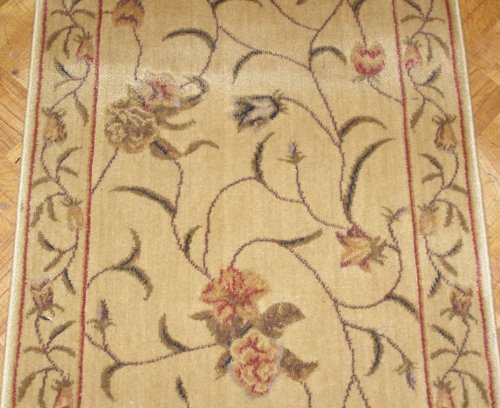 """143508 - Rug Depot Traditional Floral Stair Runner - Hallway and Stairrunner ON SALE - 27"""" Wide Hallrunner - HALL RUNNER IS PRICED PER LINEAR FOOT - Beige - FREE Serging Applied on All Lengths - Stairrunner is Machine-Made of Poly/Acrylic Fibers"""