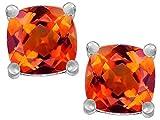 Star K Cushion-Cut 7mm Simulated Mexican Fire Opal Earrings Studs