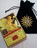Healing with the Fairies Oracle Cards by Doreen Virtue with Luxury Velvet Embroidered Sun and Moon Drawstring Storage Bag