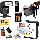Dedicated E-TTL Bounce Zoom Flash Kit For The Canon EOS Digital Rebel 1D 5D 10D 20D 30D 40D 50D 300D D30 D60 DSLR Digital Camera Includes Vivitar DF-283 TTL LCD Bounce Zoom Flash + Balance Reference Grey Card Set + Rotating Flash Bracket With Grip + Exten