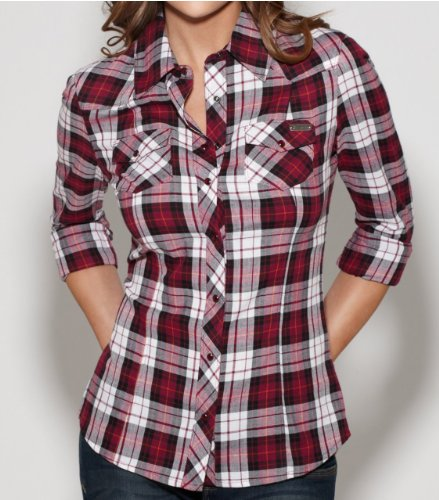G by GUESS Women's Fawn Long-Sleeve Plaid Shirt