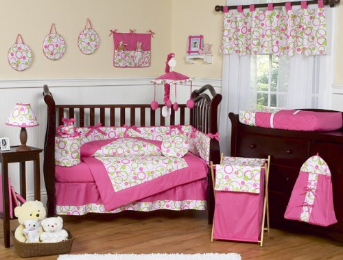 Pink and Green Circles Modern Baby Bedding 9pc Crib Set