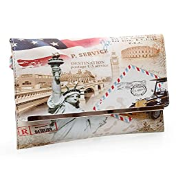 BMC Womens Textured PU Faux Leather Postage Stamp Design Print Flap Fashion Clutch Handbag - Lady Liberty