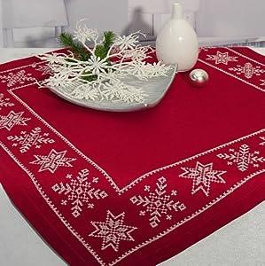 stickpackung stickdecke eiskristalle 85x85 advent weihnachten rot kreuzstich komplett zum sofort. Black Bedroom Furniture Sets. Home Design Ideas