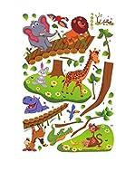 Ambiance Sticker Vinilo Decorativo Funny Animals On Wooden Bridge