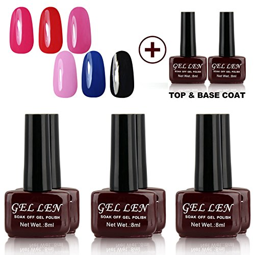 Gellen-Gel-Nail-Polish-Uv-Led-Gel-Polish-Mixed-Colors-Top-Base-Coats-Sets-8Pcs-Brown-Bottle-8PCS-Group-1