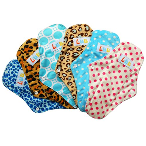 LBB(TM) Rusable Micro-fiber Mama Cloth Menstrual Pads,6pcs pack