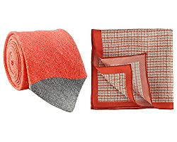 Chokore Red and Grey Linen Tie & Red and Grey Houndstooth Silk Pocket Square set