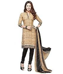 Unique Fashions Women's Khakhi Cotton Dress Material