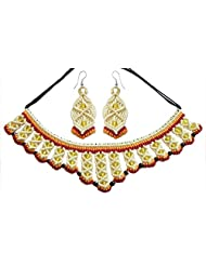 DollsofIndia Off-White And Yellow Macrame Thread Necklace And Earrings With Yellow And Black Beads - Thread -...
