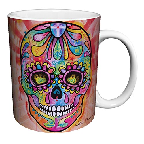 Dean Russo Psychedelic Skull Modern Art Porcelain Gift Coffee (Tea, Cocoa) 11 Oz. Mug