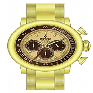 Invicta Men's 15064 Vintage Quartz Chronograph Brown, Ivory Dial Watch