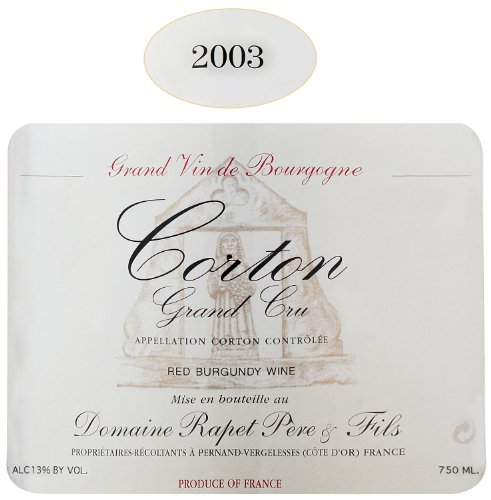 2003 Rapet Corton Grand Cru 750 Ml