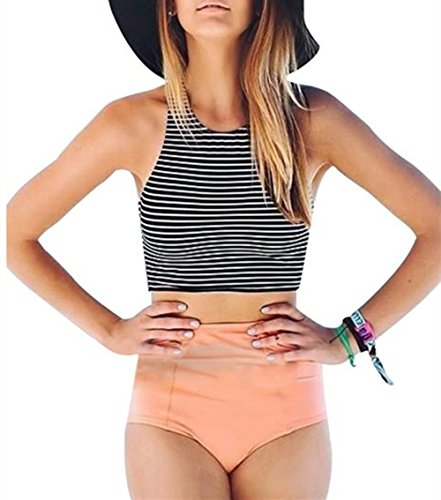 EVALESS Womens Striped Tank Top High Waist Swimwear Bikini Set Pink Medium Size
