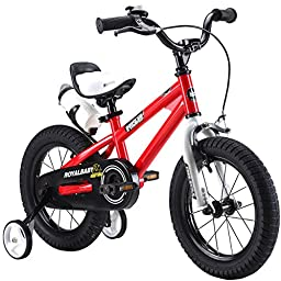 RoyalBaby BMX Freestyle Kids Bike, Boy\'s Bikes and Girl\'s Bikes with training wheels, Gifts for children, 12 inch wheels, Red