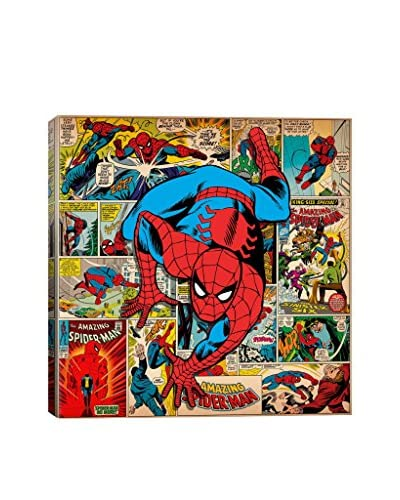 Marvel Comic Book Spider-Man on Covers & Panels Square Gallery-Wrapped Canvas Print