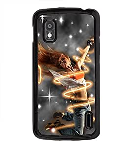Fuson Premium 2D Back Case Cover Dancing girl With yellow Background Degined For LG Google Nexus 4