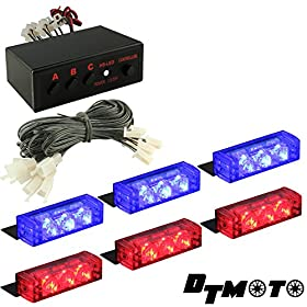 DT MOTOu2122 Blue Red 18x LED Police Emergency Vehicle Grill Warning Light - 1 set