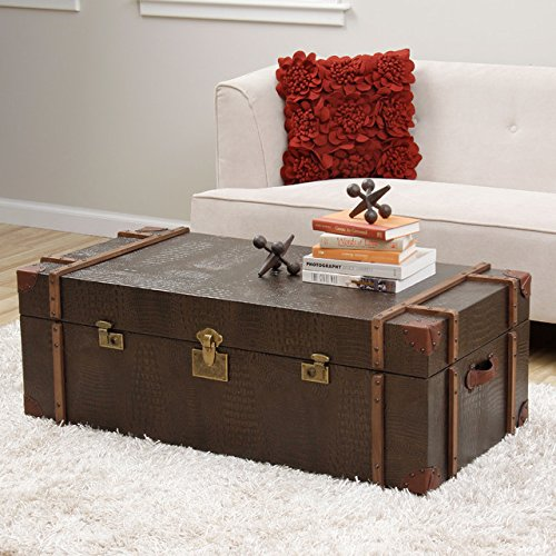Unique Journey Natural Croc-embossed Leather Trunk Coffee Table - This Is Perfect for Extra Spacious Durable Storage, Adding Rustic and Elegant Style to Your Decoration