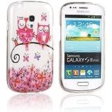 tinxi® Design Schutzhülle für Samsung Galaxy S3 mini i8190 Hülle TPU Silikon Rückschale Schutz Hülle Silicon Case mit zwei pink Eulen Owl Uhu Kauz auf dem Ast Muster