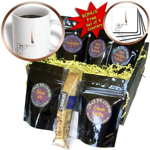Cgb_57506_1 Inspirationzstore Drip Guy - Cute Drip Guy Catching Chocolate Or Coffee Drop With Spoon - Fun Whimsical Fake Stain Unique - Coffee Gift Baskets - Coffee Gift Basket