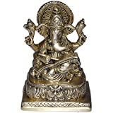 Ganesha Figurine Sitting Statue Made In Brass From India 10.16 X 7.62 X 13.34 Cmby ShalinIndia