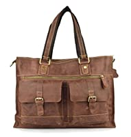 Amango Genuine Leather Laptop Messenger Bag for Men Fit 15'' Laptop Coffee A2073