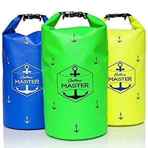 Outdoors MASTER 20L Dry Bag - Waterproof Backpack for Camera, Boating, Stand Up Paddle, Kayaking, Camping (Green)