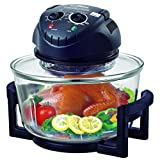 Hometech Halogen Convection Countertop Oven MINI, Extender Ring(to 17 Quart),Lid Holder, Frying Pan, Tongs, Dual Rack (Black)