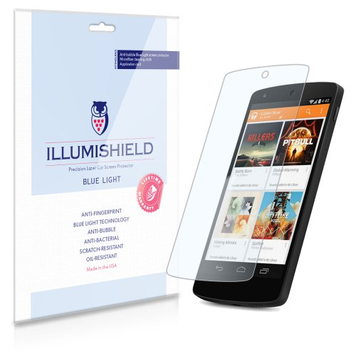 Illumishield - Google Nexus 5 (Hd) Blue Light Uv Filter Screen Protector Premium High Definition Clear Film / Reduces Eye Fatigue And Eye Strain - Anti- Fingerprint / Anti-Bubble / Anti-Bacterial Shield - Comes With Free Lifetime Replacement Warranty - [2