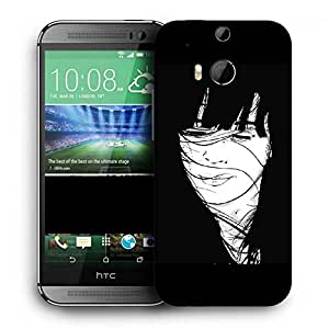 Snoogg Girl Hair Blown By The Wind Black Printed Protective Phone Back Case Cover For HTC One M8