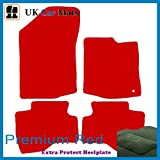 Premier Products luxury quality mats in red to fit Peugeot 107 (2005-) with 1 Peugeot Round clips in carpet and Red-Stripe trim around edge of carpet