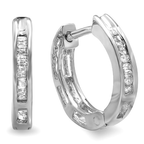 0.15 Carat (ctw) Sterling Silver Ladies Mens Unisex Baguette Diamond Huggie Hoop Earrings