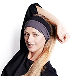 BLOM Multi-Style Headband for Sports or Fashion, Yoga or Travel. Happy Head Guarantee - Super Comfortable. Designer Style & Quality (Charcoal & Black)