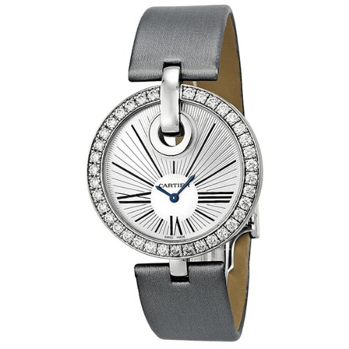 Cartier Captive De Cartier Silver Dial 18kt White Gold Diamond Silver Satin Ladies Watch WG600012