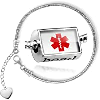 Charm Set Medical Alert Red Hospital Logo - Bead comes with Bracelet , Neonblond from NEONBLOND