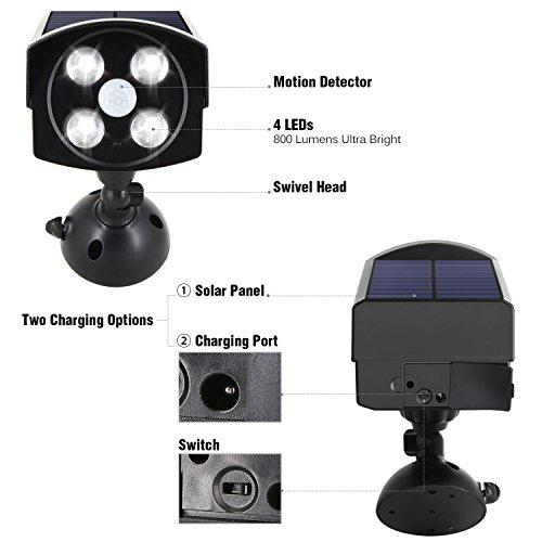 InnoGear USB Solar Powered Motion Sensor Lights Dummy Camera Outdoor  Spotlight LED Security Lights For Front Door Porch Patio Yard Home Garden  Home