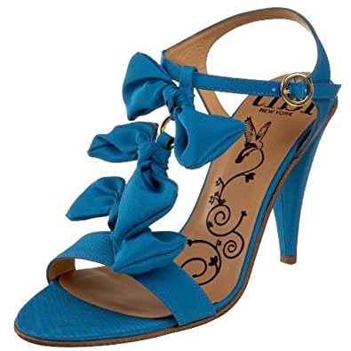 Tibi Women's Jardin T-Strap Sandal,Turquoise Crepe,10 M US