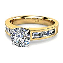 buy 14Kt Yellow Gold This Fashionable Flat Shank Engagement Ring Features Six Channel Set Baguette Diamonds Set East-West To Allure And Impress 3/4 Ctw Near-Colorless Color Vs1-Vs2 Clarity