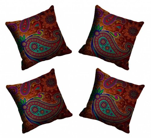meSleep Digitally Printed Big Paisley Micro Fabric 4 Piece Cushion Cover Set - Red