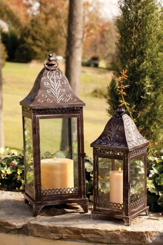 Set of 2 Bronze Metal Candle Lanterns