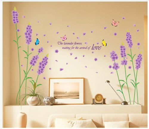 Kappier Beautiful Large Long Stem Lavender Flowers with Butterflies Waiting for the Arrival of Love Wall Decals - 1